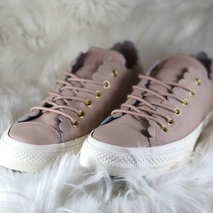 🔥 NIB Leather Scallop Converse CTAS Ox Rose W8